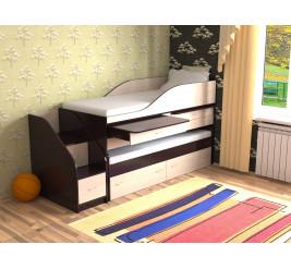 Детская выдвижная двухъярусная кровать Дуэт-8 («Славмебель»)