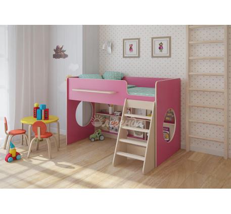 Кровать-чердак Легенда-22.1 с игровой зоной для девочки, спальное место 160х80 см