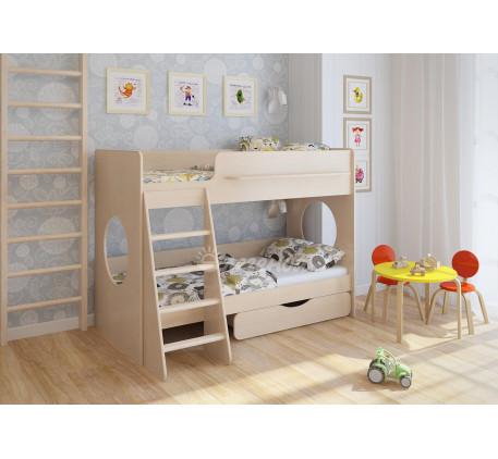 Двухъярусная кровать с ящиком и бортиками Легенда-25.2, спальные места 180х80 см