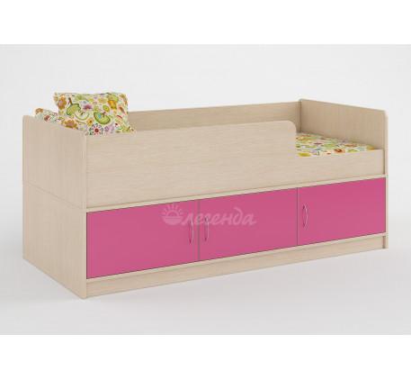 Кровать Легенда-35 для девочки с бортиками и ящиками, спальное место 160х70 см