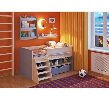 Детская кровать Легенда-6 с полками Л-01, Л-03, спальное место 160х80 см
