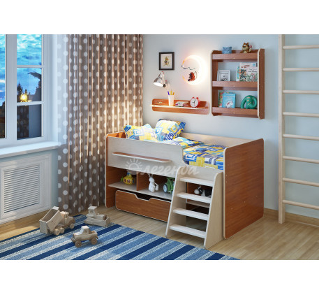 Кровать Легенда-6 детская с полками Л-01, Л-03, спальное место 160х80 см