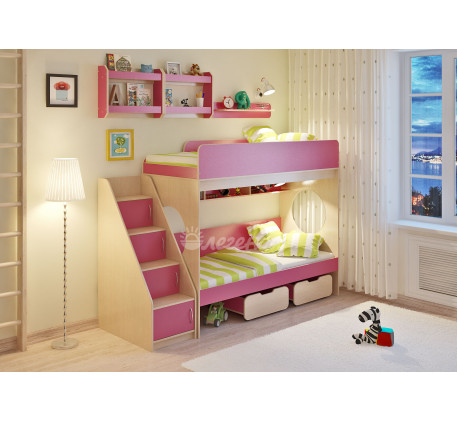 Кровать Легенда-7.3 с полками Л-01 и Л-02 (2 шт), спальные места 190х80 см