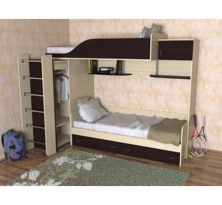 Детская двухъярусная кровать Дуэт-3 с встроенным шкафом