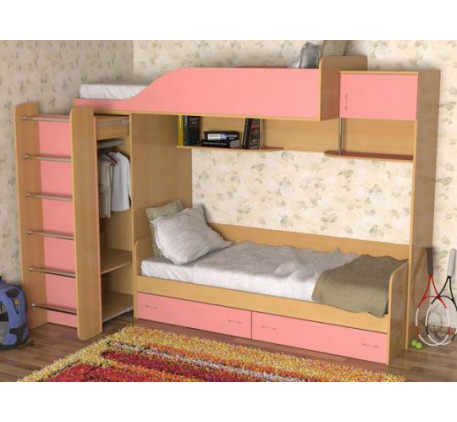 Двухъярусная кровать для детей со шкафом Дуэт-3