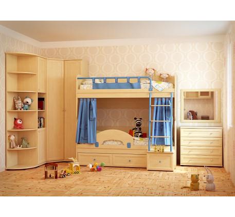 Мебель для двоих детей Немо. Коплектация: Двухъярусная кровать Немо; Ограничитель; Занавески; Шкаф О..