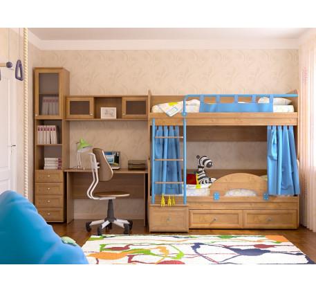 Комната для двоих подростков Немо. Комплектация: Двухъярусная кровать Немо; Ограничитель; Занавески;..