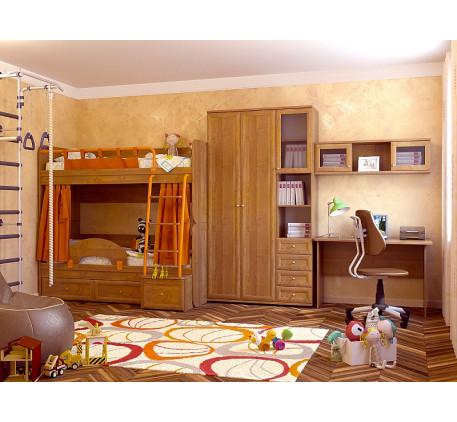 Комната для подростков Немо. Комплектация: Двухъярусная кровать Немо; Ограничитель; Занавески; Пенал..
