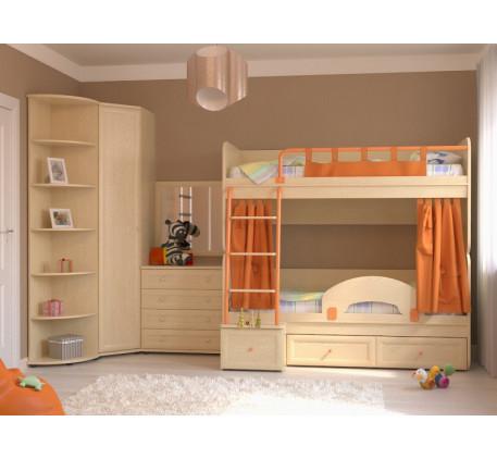 Комната для двоих детей Немо. Комплектация: Двухъярусная кровать Немо; Ограничитель; Занавески; Шкаф..