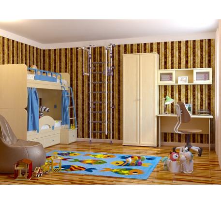 Детская спальня для двоих детей Немо. Комплектация: Двухъярусная кровать Немо; Ограничитель; Занавес..