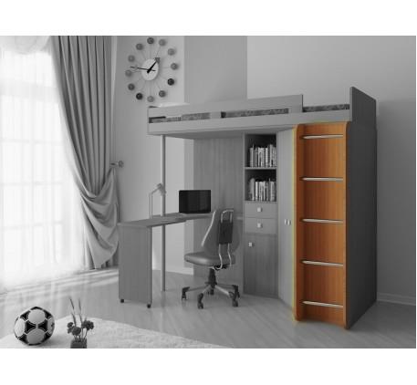 Кровать-чердак М85 с лестницей с деревянными боковинами и металлическими ступенями