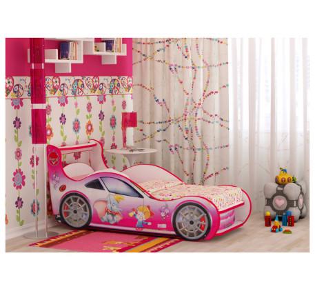 Кровать-машина для девочки Принцесс Плюс  с выдвижным ящиком, спальное место 1700*800 мм.