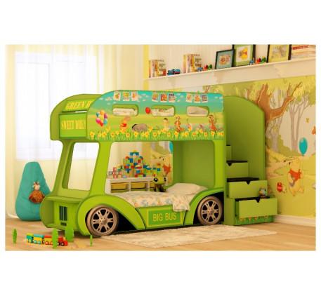 Детская двухъярусная кровать-автобус Винни Пух, спальное место кроватей 1700*700 мм