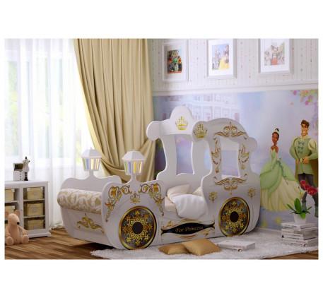 Детская кровать-карета для девочки принцессы с подъемным основанием, спальное место кровати 1700*700..