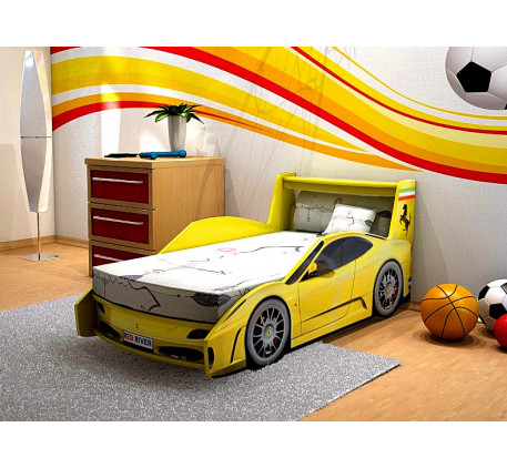 Кровать-машина с ящиком Феррари Престиж, подъемное спальное место кровати 1700*700.