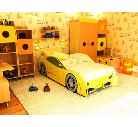 Детская кровать в виде машины Феррари (Ferrari), спальное место 170х70 см