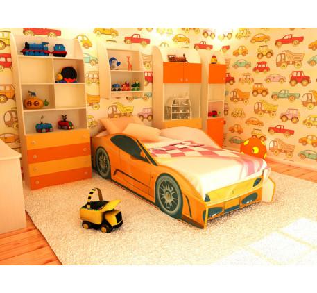 Детская кровать в виде машины Феррари (Ferrari), спальное место кровати 1700*700.