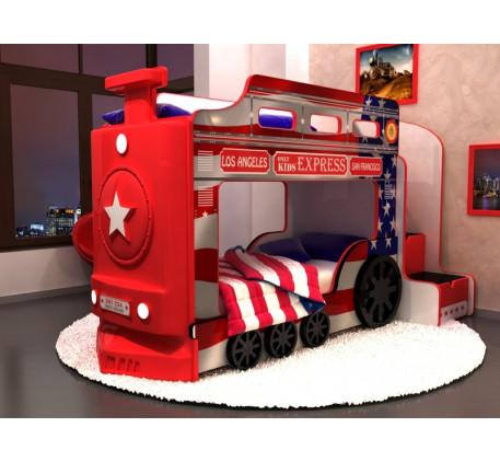 Детская двухъярусная кровать-паровоз Америка с подсветкой фар и объемными колесами, спальные места 1..