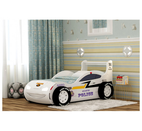 Кровать-машина Полиция 3D с подсветкой фар, подъемным основанием, объемными колесами (4 шт.) Спально..