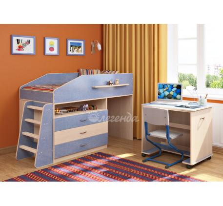 Кровать-чердак невысокая для мальчика Легенда-12.1, спальное место 160х80 см