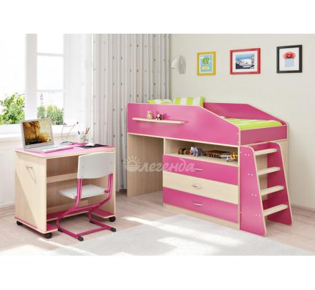 Кровать-чердак невысокая для девочки Легенда-12.1, спальное место 160х80 см