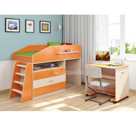 Кровать-чердак низкая со столом Легенда-12.1, спальное место 160х80 см