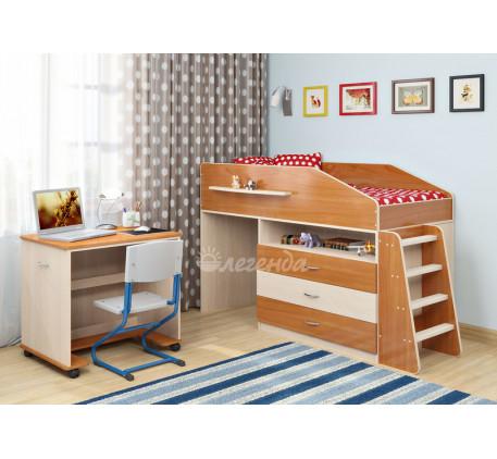 Кровать-чердак низкая с рабочей зоной Легенда-12.1, спальное место 160х80 см