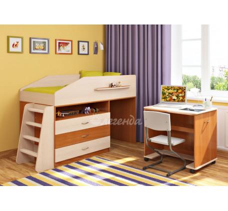 Детская кровать-чердак низкая с рабочей зоной Легенда-12.1, спальное место 160х80 см