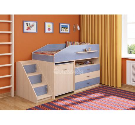 Кровать-чердак низкая для мальчика Легенда-12.2, спальное место 160х80 см