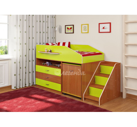 Детская кровать-чердак невысокая Легенда-12.2, спальное место 160х80 см