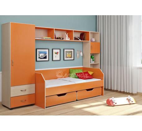 Детская мебель Легенда. Комната №1: кровать Легенда-13 с ящиками, пенал Л-01, антресоль Л-02, стелла..