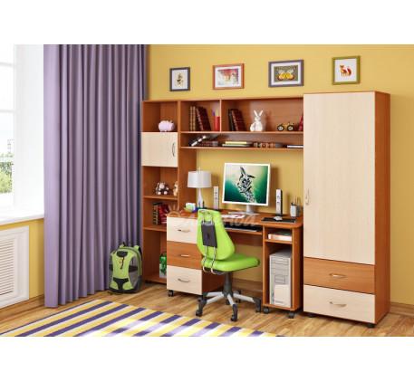 Детская мебель Легенда. Комната №4: пенал Л-01, стол Л-01, антресоль Л-01, стеллаж Л-01