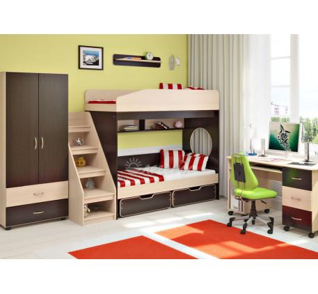 Детская мебель Легенда. Комната №10:  двухъярусная кровать Легенда-10 с ящиками, лестница  ЛУ-10, ст..