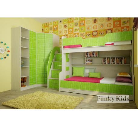 Детская комната для троих разнополых детей. Двухъярусная кровать Фанки Кидз-21 +угловой шкаф 13/15 +..