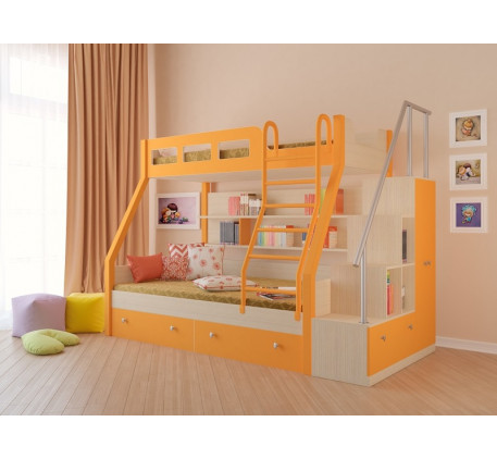 Двухъярусная кровать Рио с лестницей-стеллажом. Верхнее спальное место 190х80, нижнее 190х120 см