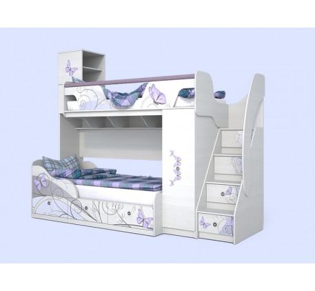Двухъярусная кровать Леди, верхнее спальное место 190х80 см, нижнее 190х90 см