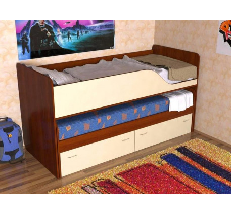 Детская выкатная кровать Дуэт-2 для двоих детей с выдвижным спальным местом с ящиками