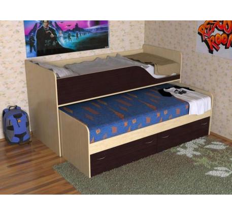 Двухъярусная выдвижная кровать Дуэт-2 для двоих детей с выкатным спальным местом с ящиками