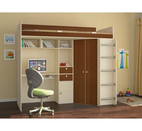 Кровать-чердак со столом и шкафом Астра-1, спальное место 195х80 см