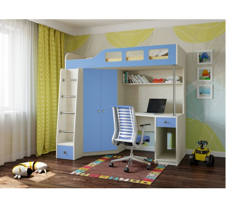 Кровать-чердак для мальчика Астра-7, спальное место 195х80 см