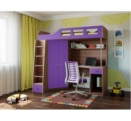 Кровать-чердак с рабочей зоной Астра-7, спальное место 195х80 см