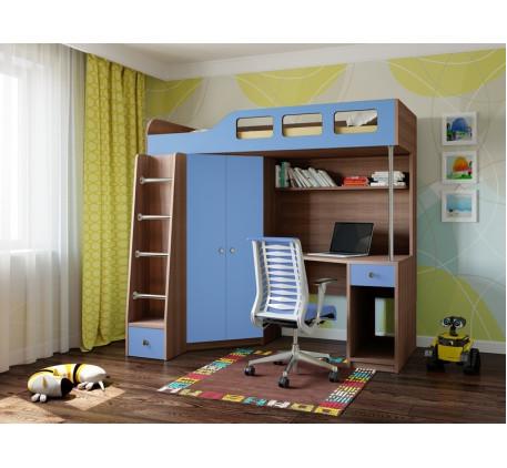 Детская кровать-чердак с рабочей зоной Астра-7, спальное место 195х80 см