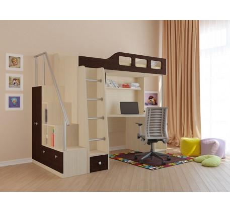 Кровать-чердак с лестницей-стеллажом Астра-7, спальное место 195х80 см