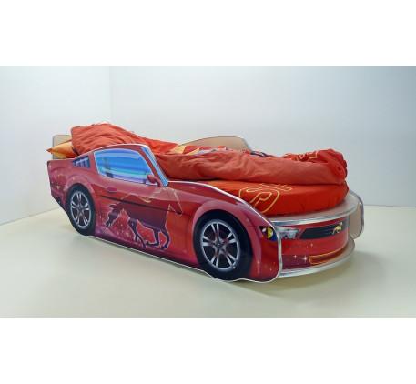 Кровать-машина Мустанг с матрасом, спальное место кровати 1700*700 мм.