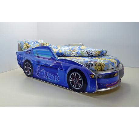 Кровать Мустанг с матрасом, спальное место кровати-машины 1700*700 мм.