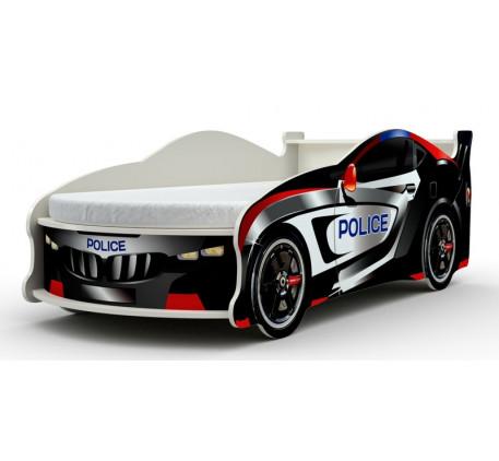 Кровать-машина Полиция Форсаж с матрасом, подъёмным механизмом, ящиком для белья. Спальное место 180..