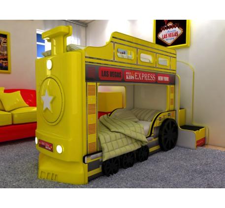 Детская двухъярусная кровать-паровоз с подсветкой фар и объемными колесами, спальные места 1700*700 ..