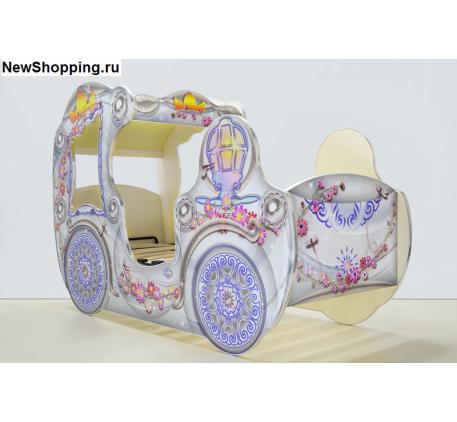 Кровать-карета для девочки VIP, спальное место детской кровати 1700*700 мм.