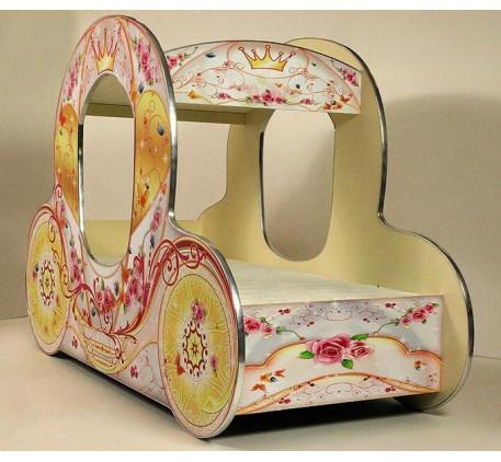 Кровать-карета для девочки Золушка, спальное место детской кровати 1500*700 мм.