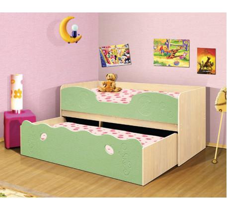 Выкатная кровать Омега-11. Нижнее выдвижное спальное место 1900*800, верхнее 1900*900 мм.